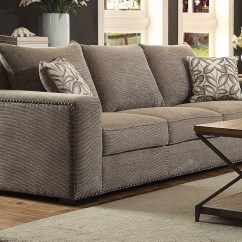 Sofa Nailhead Macy S Chloe Tufted Alano Contemporary Gray Chenille And Loveseat W