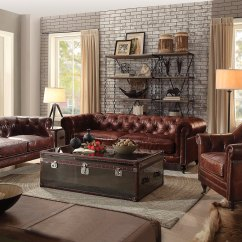 Living Room Loveseat Furniture Clearance Sale Vintage Chesterfield Sofa & | Dark Brown Leather ...