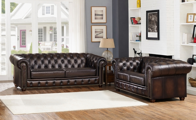 genuine leather sofa and loveseat sectional sets albany dark brown chesterfield in 100