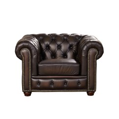 100 Genuine Leather Sofa Kartell Bubble Reviews Albany Dark Brown Chesterfield And Chair In