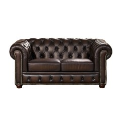 Genuine Leather Sofa And Loveseat On Amazon Albany Dark Brown Chesterfield In 100