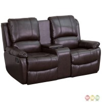 Allure 2-seat Reclining Pillow Back Brown Leather Theater ...