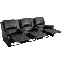 Allure 3-seat Reclining Pillow Back Black Leather Theater ...