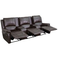 Allure 3-seat Reclining Pillow Back Brown Leather Theater ...