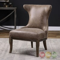 Amery Weathered Brown Hourglass Wing Chair With Solid ...