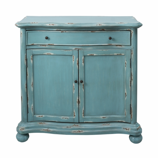 Annadale French Country Distressed Blue Accent Cabinet