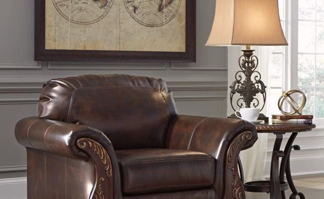Vanceton Brown Leather Traditional Wood Sofa Loveseat