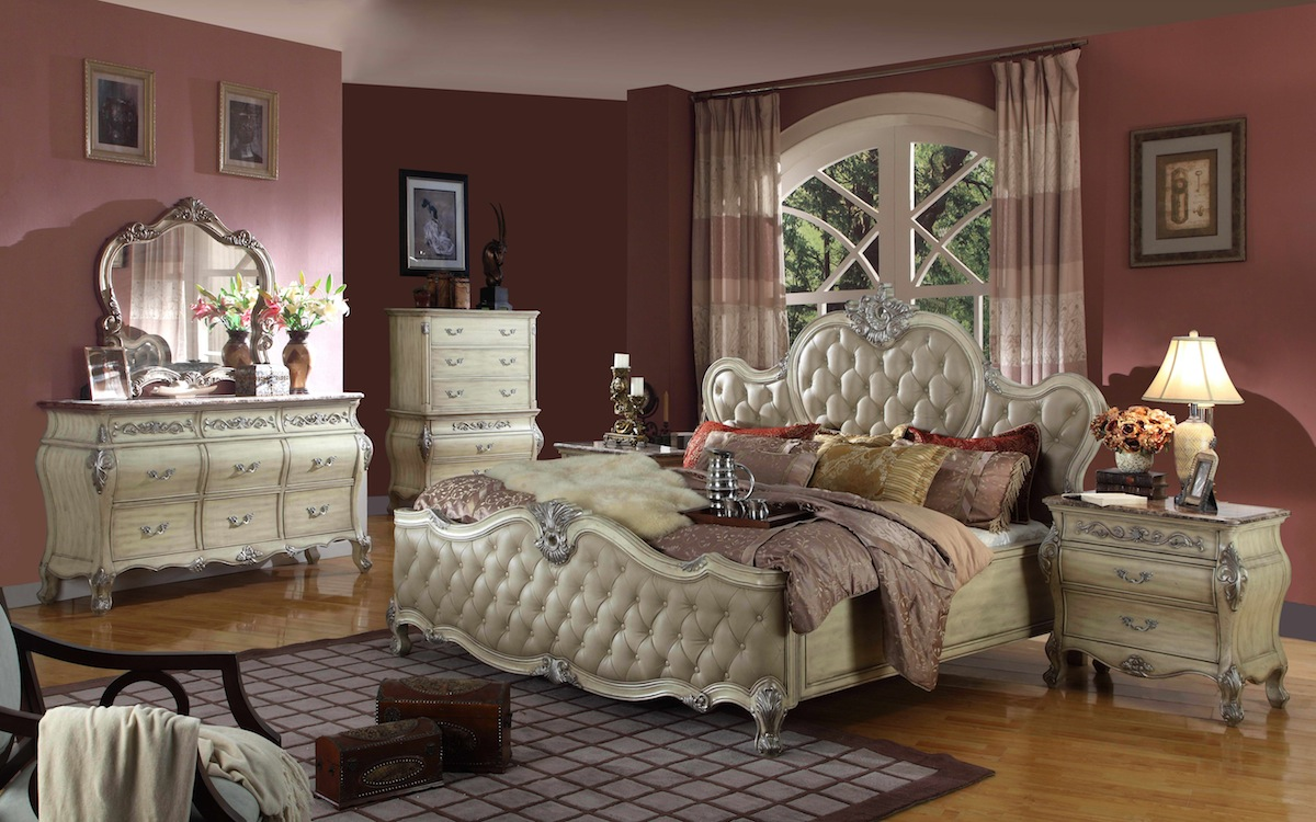 Antoinette White Leather Bed Traditional Bedroom Set w