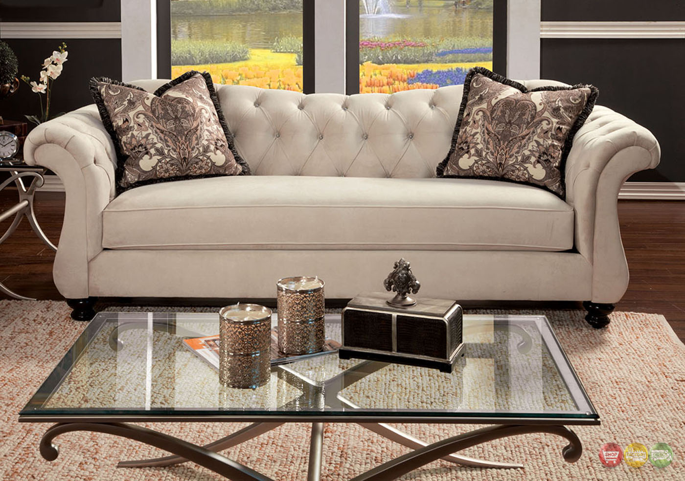 tufted sofa set modern bed chicago antoinette crystal button transitional living room