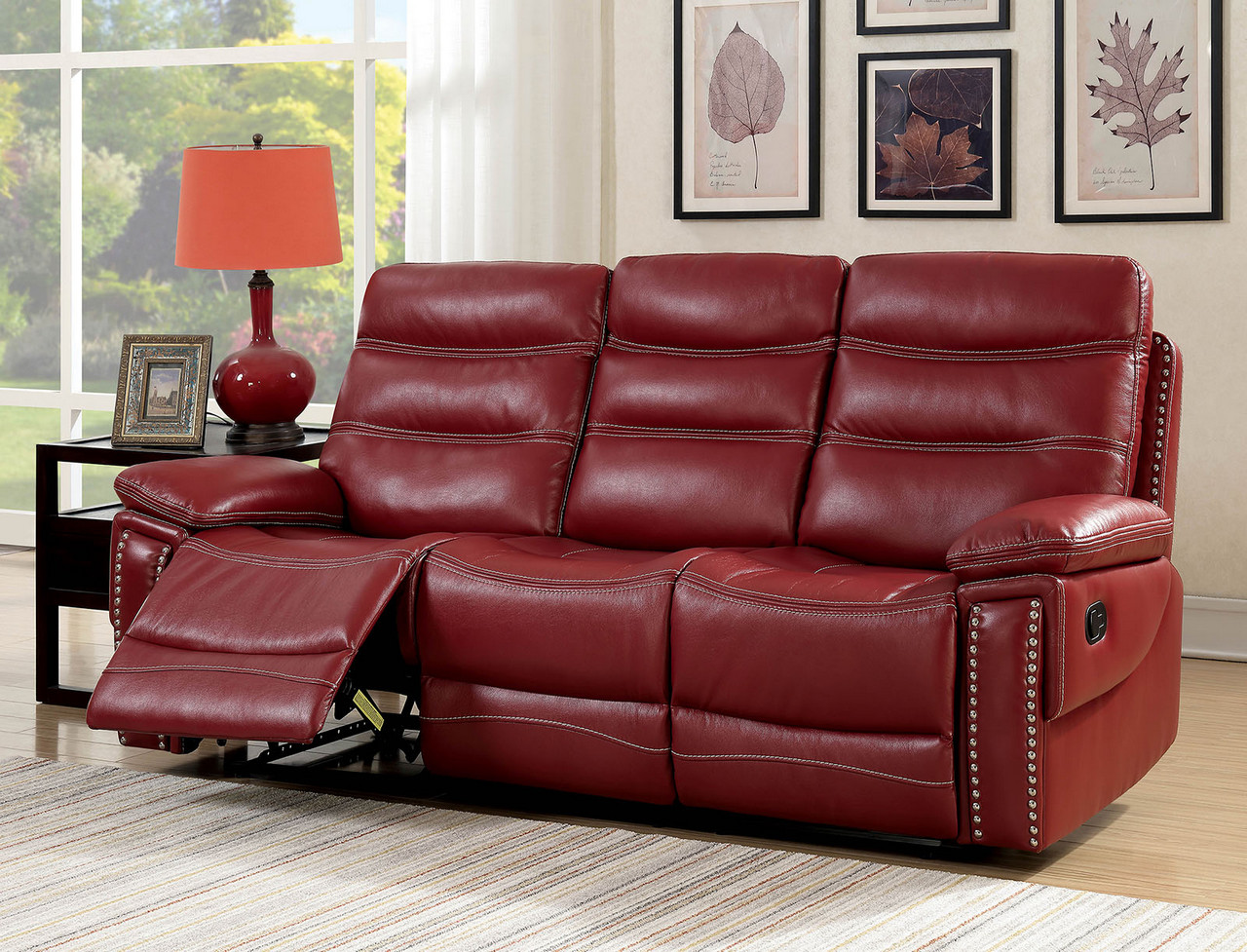 A sofa is one of the most important purchases for your home for entertaining or for relaxing. Artemis Contemporary Red Faux Leather Reclining Sofa with ...