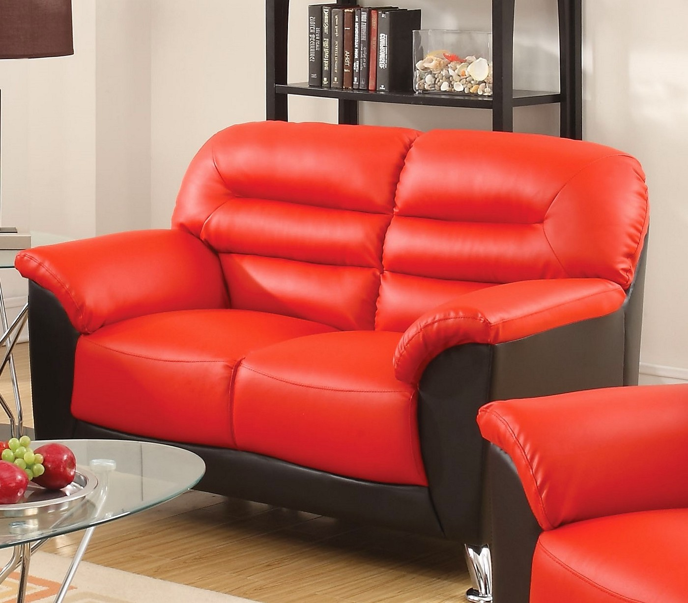 modern black leather sofa new york futon bed asmund and red faux loveseat
