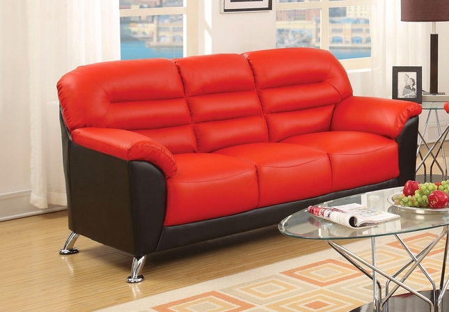 black and red leather sofa maytex stretch pixel 1 piece slipcover asmund modern faux with chrome legs
