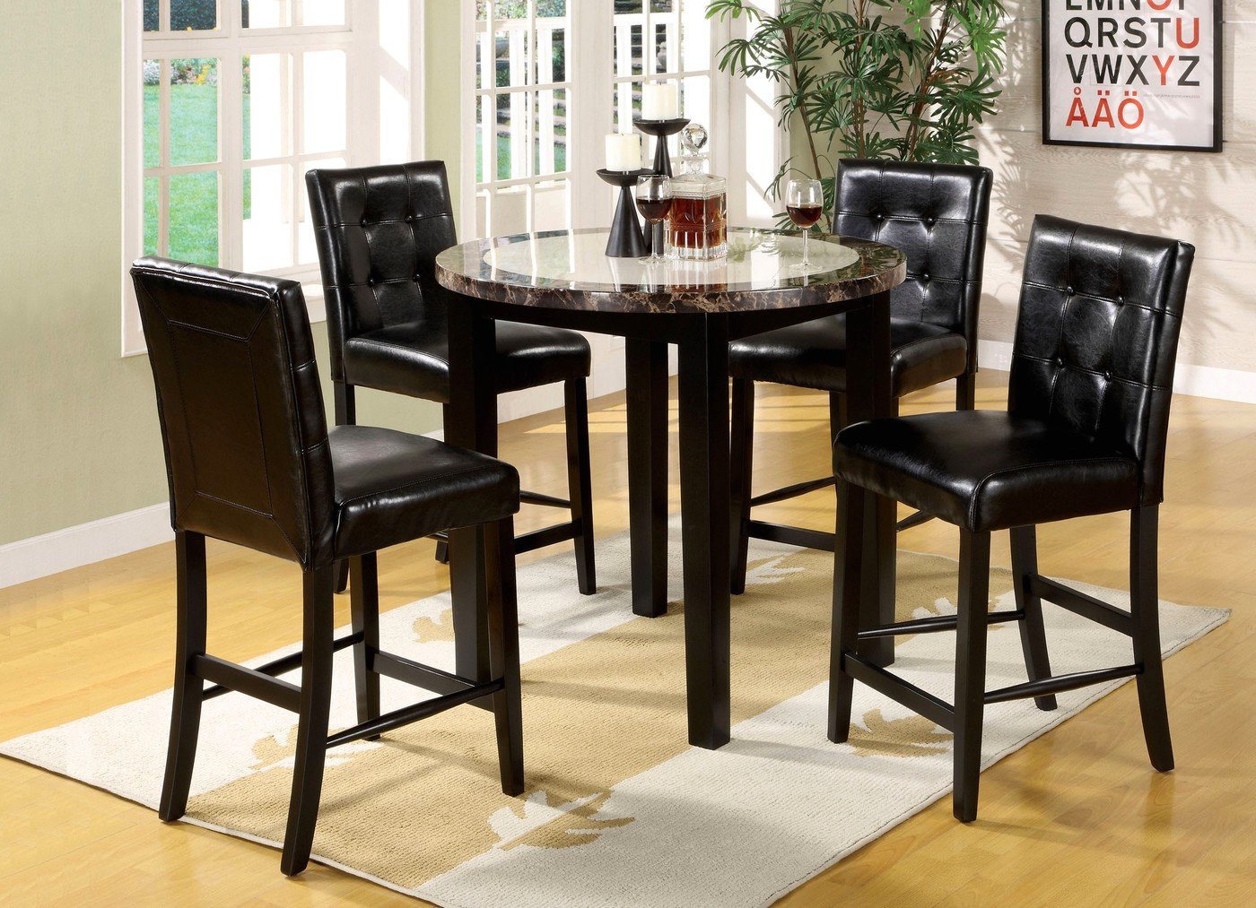 counter height dining chair children rocking chairs atlas iv contemporary black set with