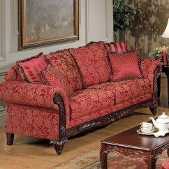 Sofa Magenta French Style Sofas Melbourne Aubrey Traditional In Red Jacquard Fabric