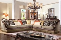 Avante Traditional Sectional Sofa w/ Wood Trim, Fringe