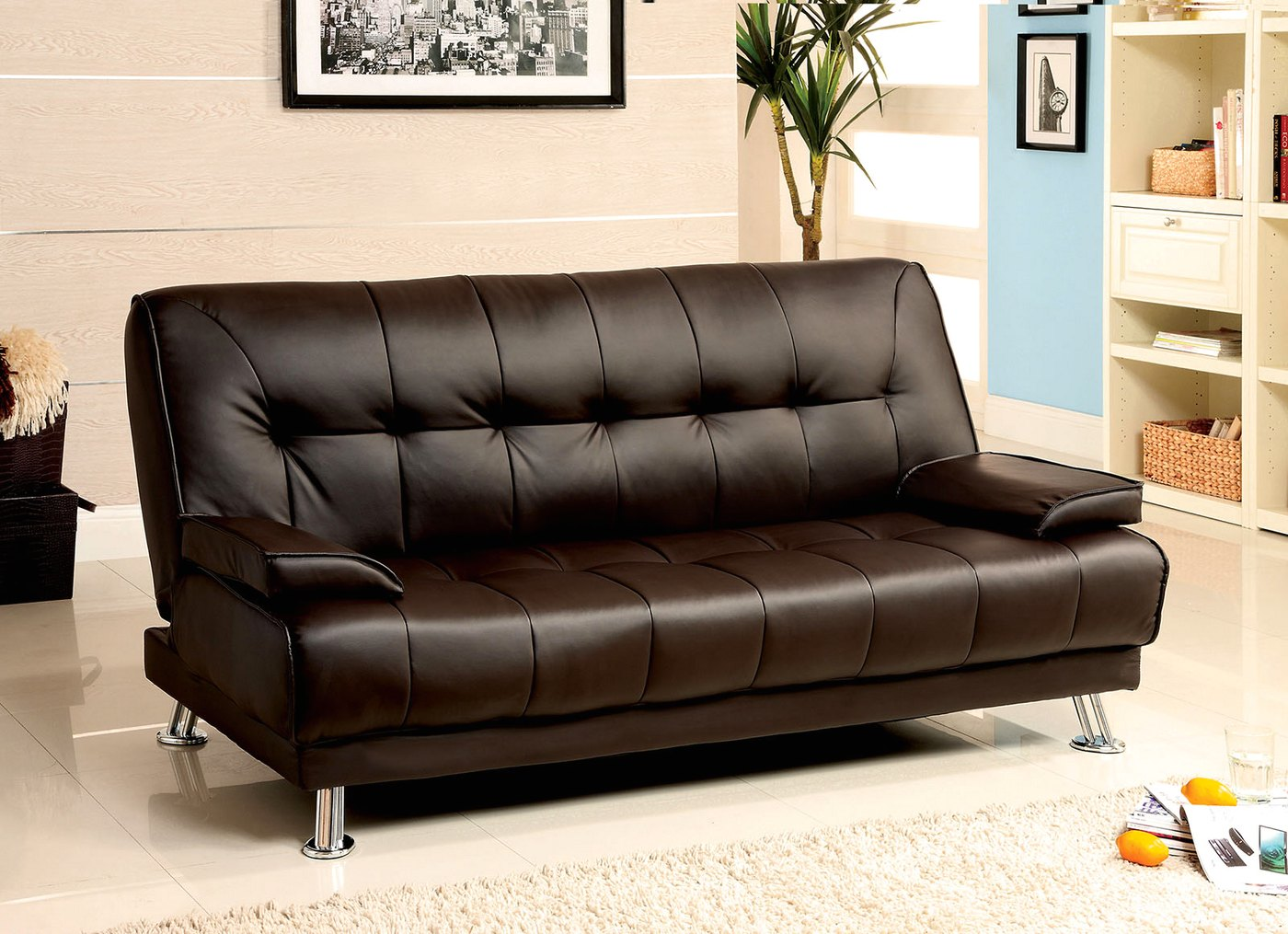coaster futon sofa bed with removable armrests review leather sectional cup holders beaumont contemporary dark brown set