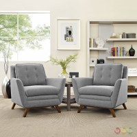 Mid-Century Modern Beguile 2pc Fabric Living Room Set ...