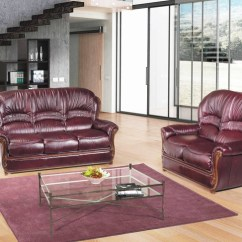 Burgundy Leather Sofa And Loveseat Throws Amazon Uk Bella Traditional Italian Set With Genuine W Wood Accents