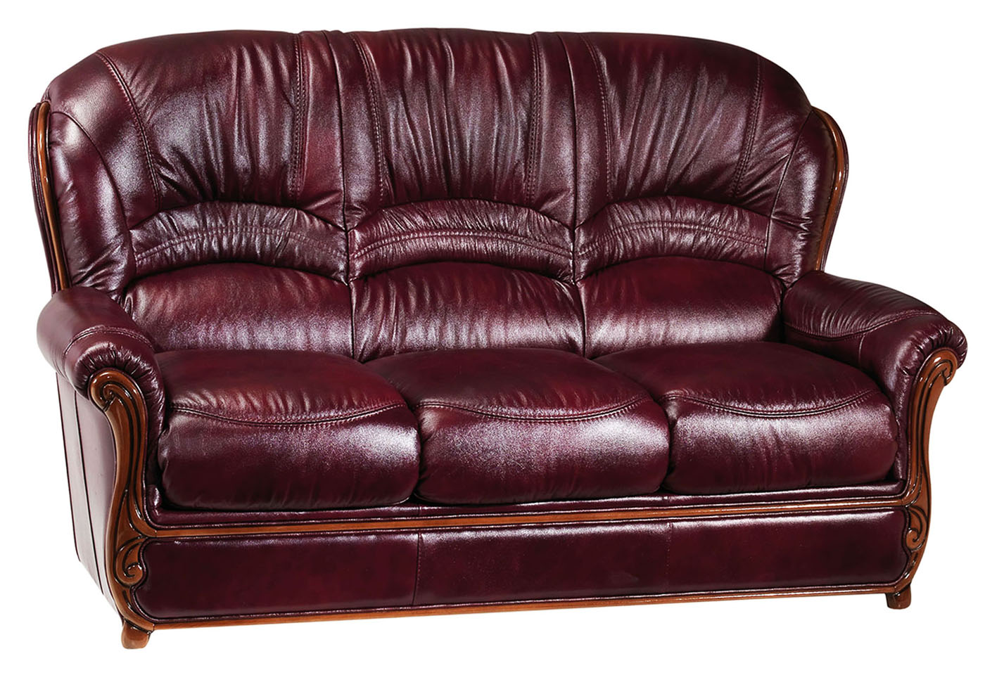 classic italian leather sofa cost of reupholstering bella burgundy traditional with wood accents