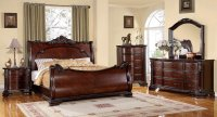 Bellefonte Baroque Brown Cherry Sleigh Bedroom Set with ...