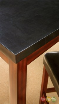 "Bello 54"" Black Granite Top Counter Height Dining Table In"