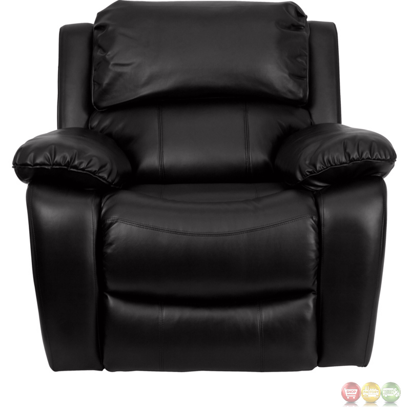 Black Bonded Leather Contemporary Rocker Recliner