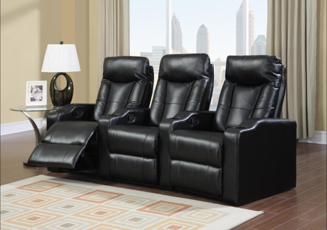 theater chairs with cup holders ikea dining chair covers black and white bonded leather home seating reclining 3 seats w cupholders
