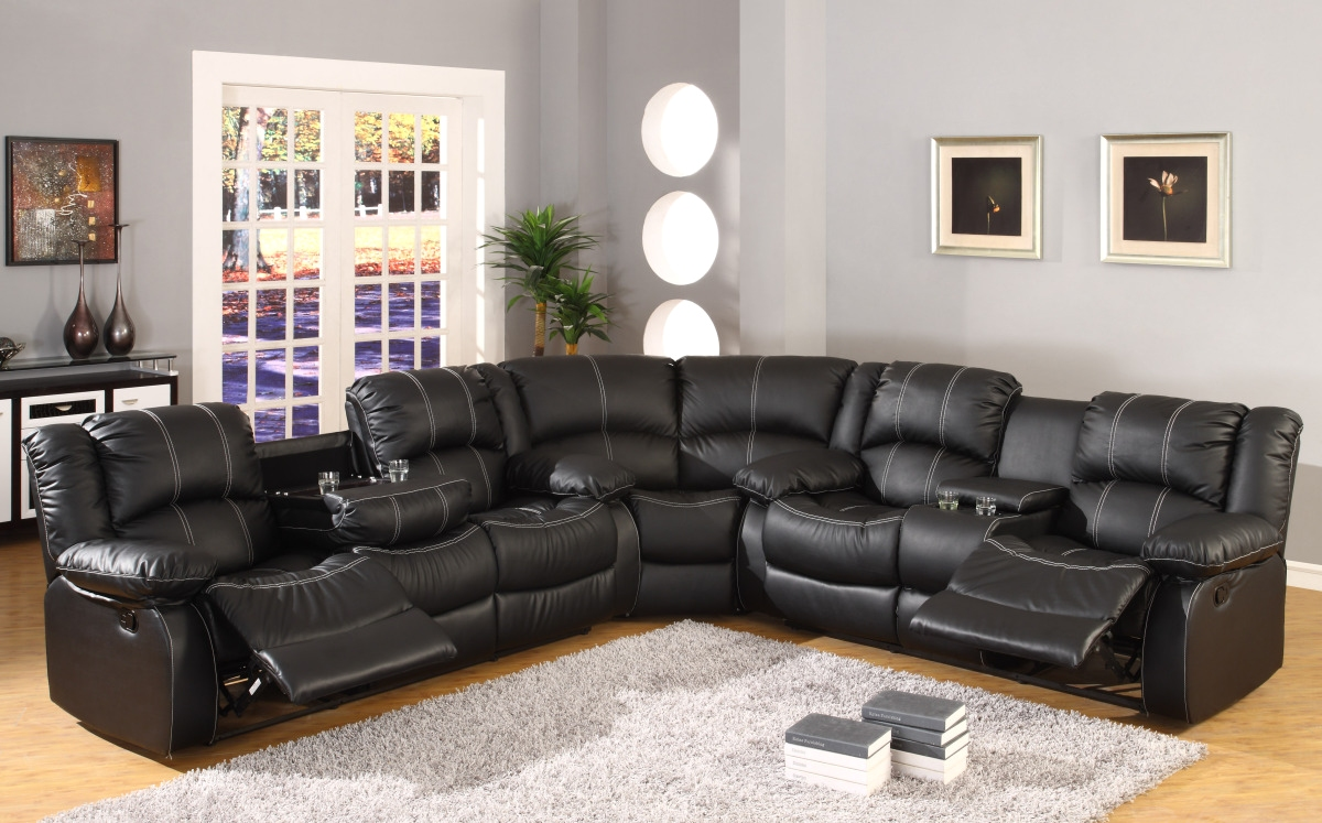 3 seater sofa black leather dark grey fabric recliner faux reclining motion sectional w ...