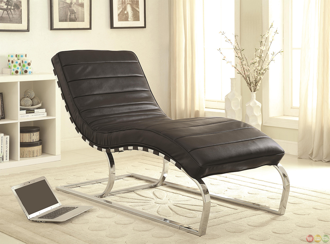 Leather Chaise Lounge Chair Black Faux Leather Upholstery Chaise Lounge Accent Chair