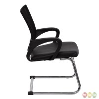 Black Leather Office Side Chair With Black Mesh Back And ...
