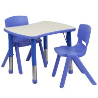 Blue Plastic Rectangle Adjustable School Activity Table ...