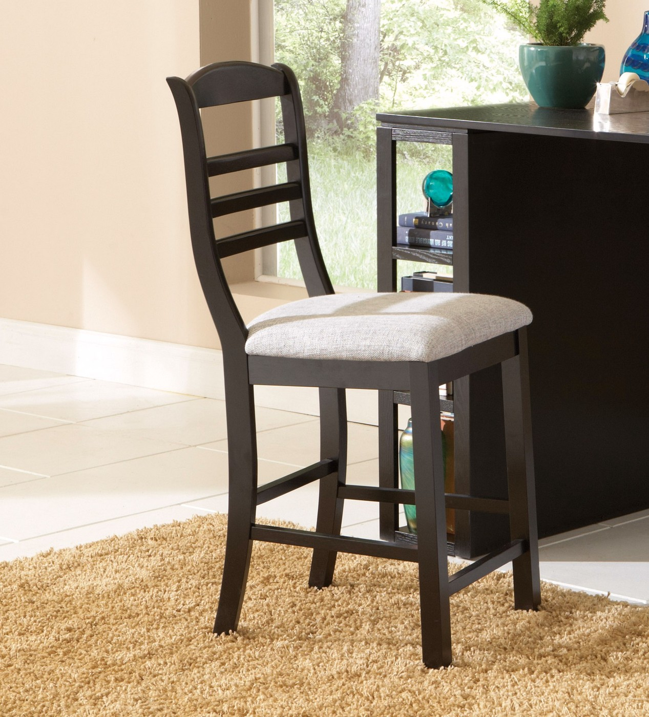 counter height computer chair wooden table and chairs for 18 inch dolls bradford desk in painted black wood