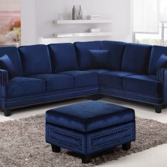 Velvet Sectional Sofa Brown Cover Braylee Modern Navy With Nailhead Trim