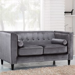 Velvet Grey Tufted Sofa Sectionnel Usage A Vendre Montreal Brycen Contemporary Loveseat With Button