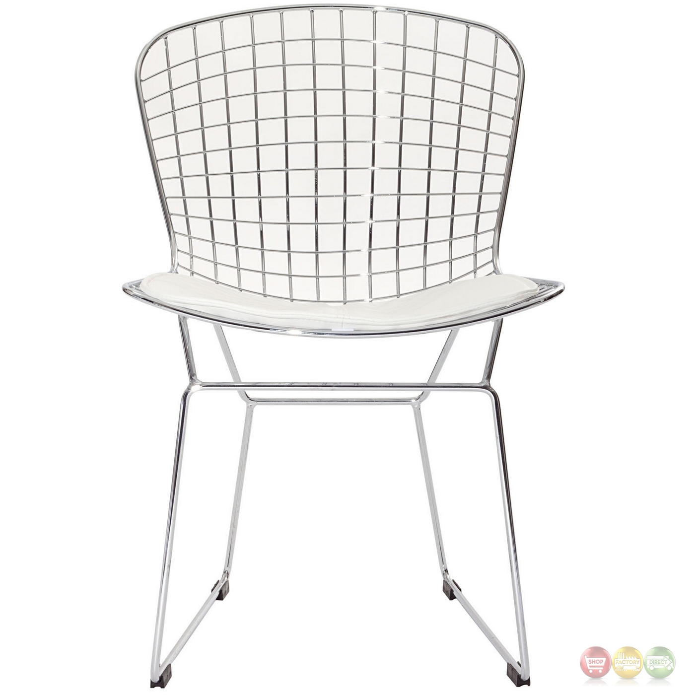 Cad Modernistic Wired Back Dining Side Chair In Chrome