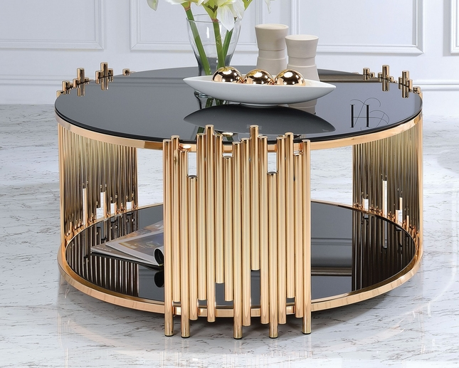 cafe coffee table with black glass top