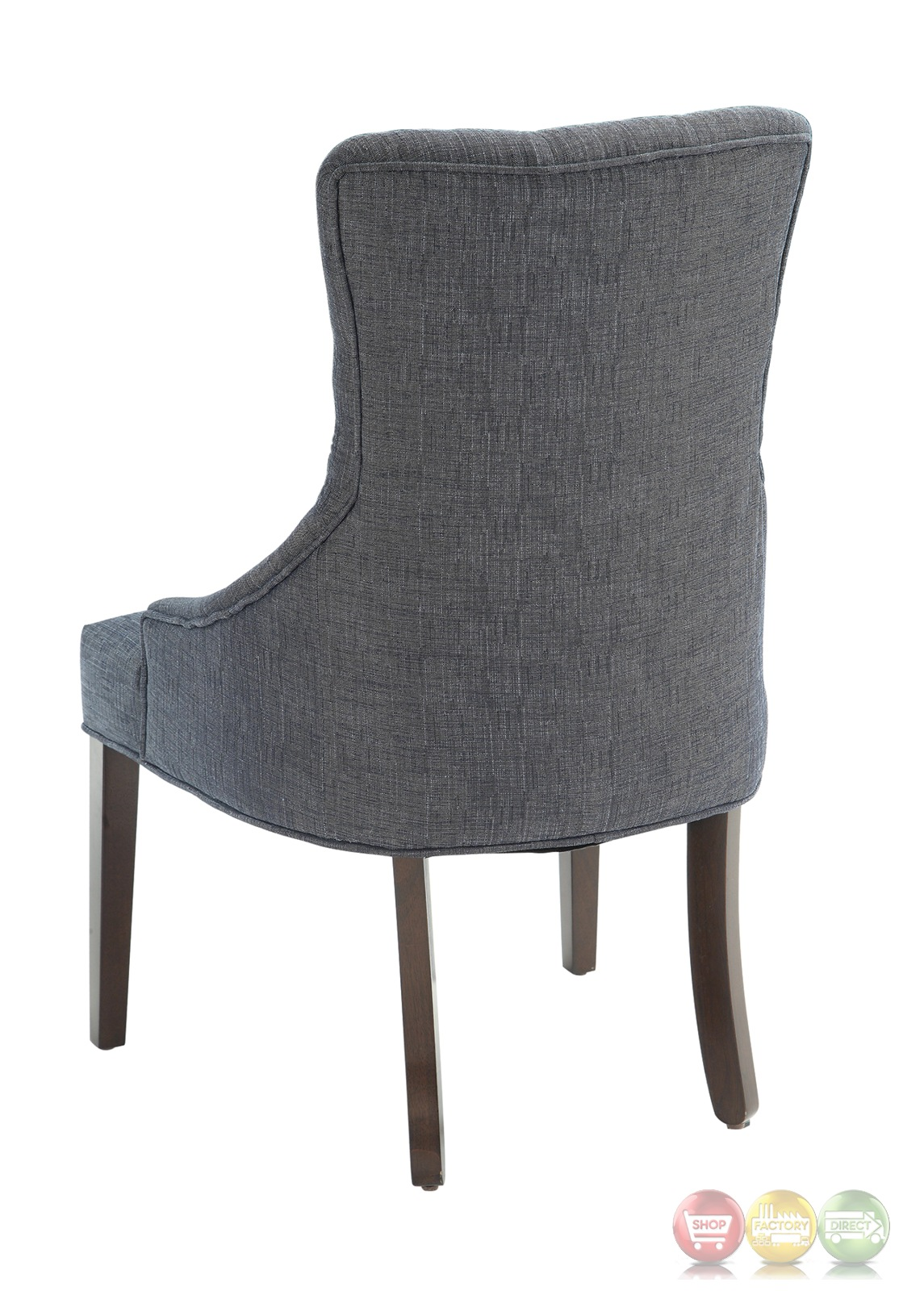 Blue Tufted Chair Caprice Button Tufted Blue Grey Linen Accent Chair