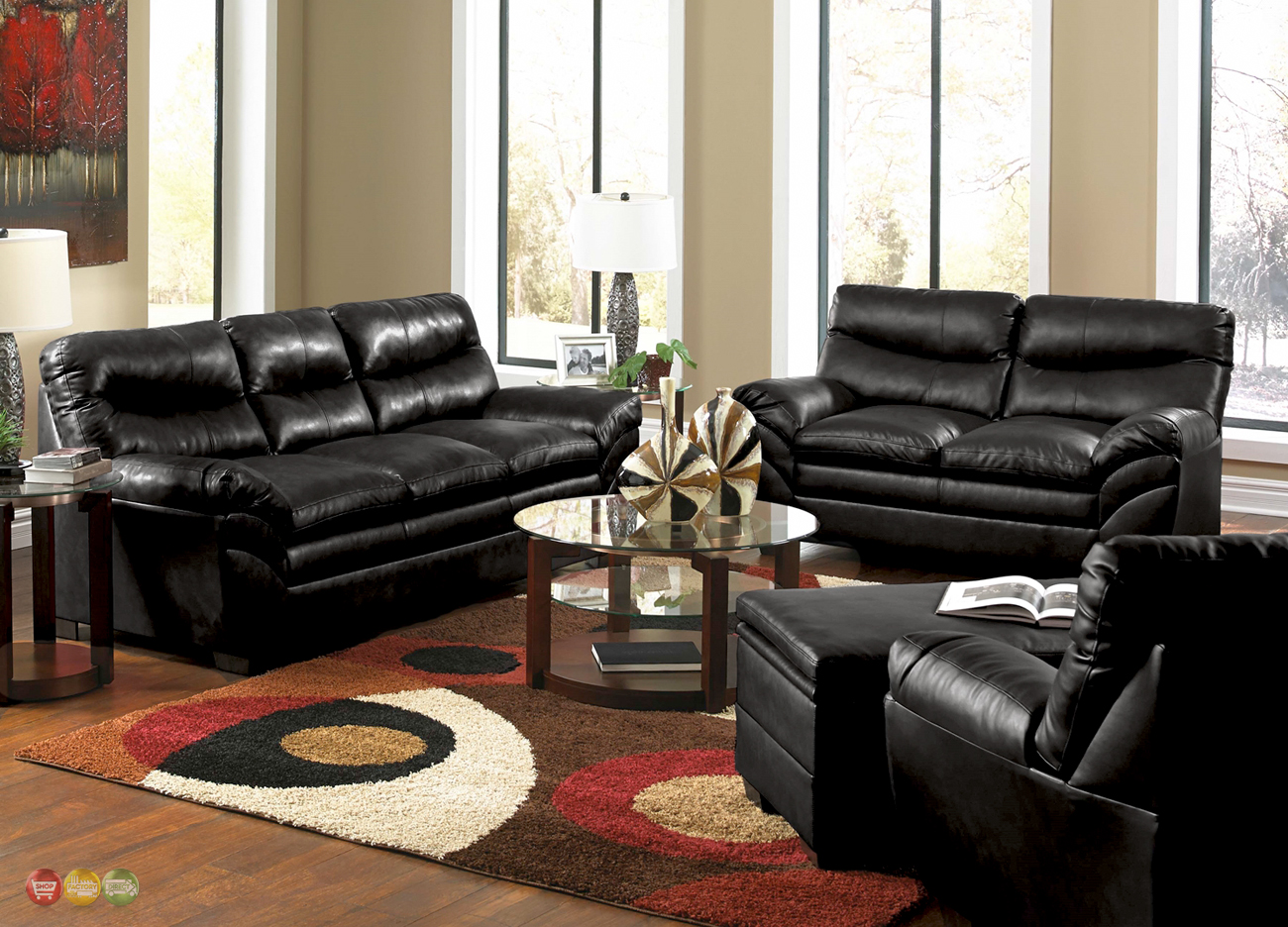 Black Living Room Chair Casual Contemporary Black Bonded Leather Sofa Set Living