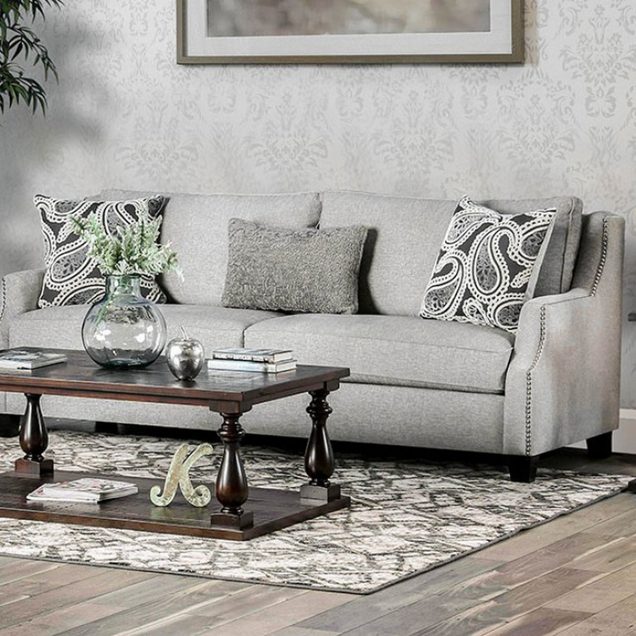 grey sofa with silver nailheads sofab chantal contemporary fabric sloped arms