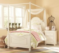Charlotte Traditional Antique White Poster Canopy Twin Bed