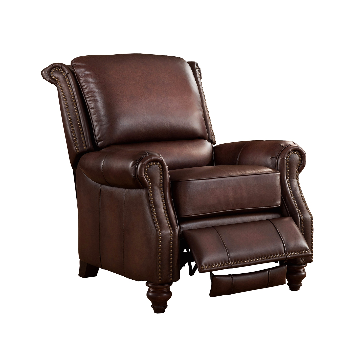 Real Leather Recliner Chairs Churchill Traditional Genuine Brown Leather Pushback