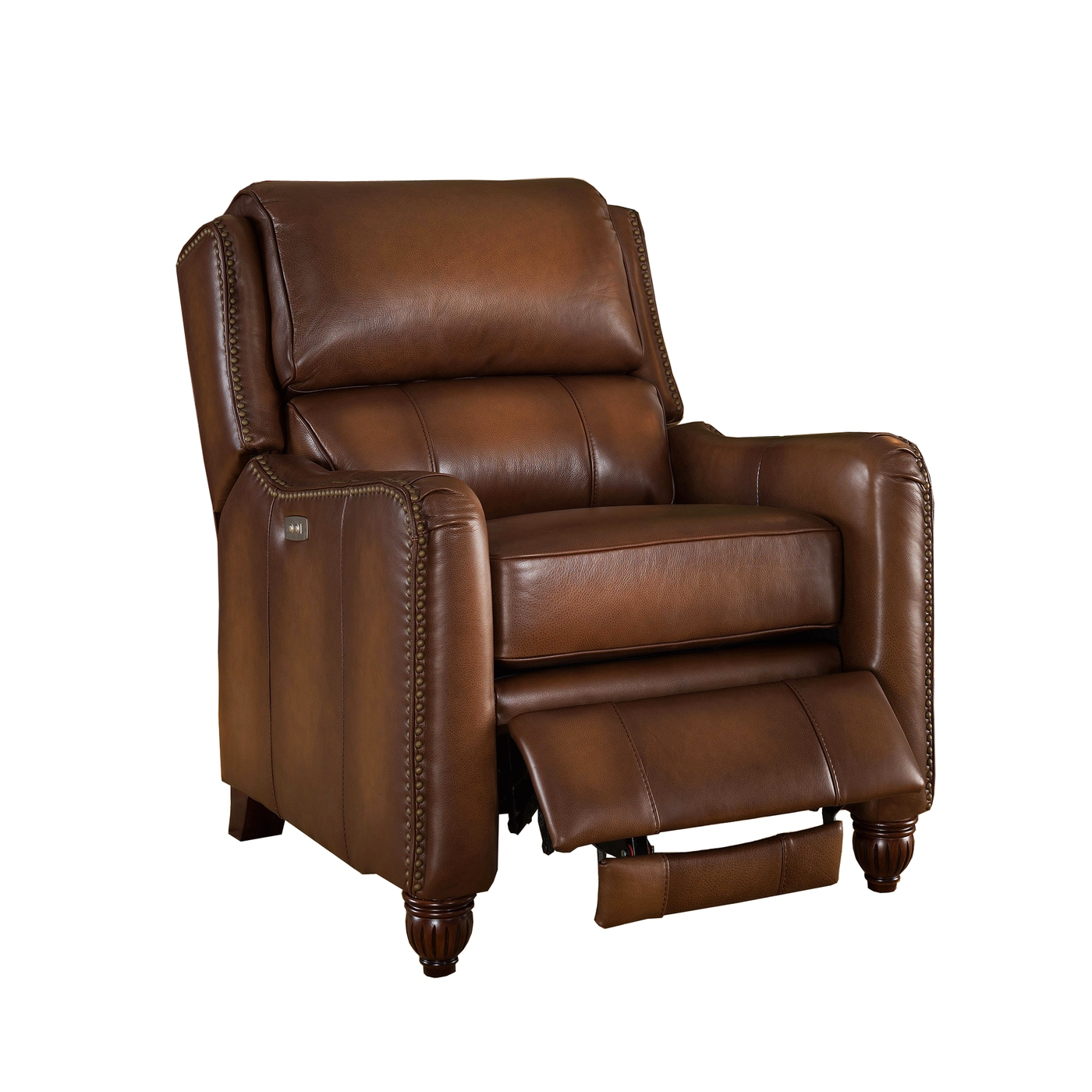 brown leather recliner chair folding concert lawn chairs concord traditional top grain powered
