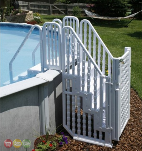 Above Ground Pool Complete Safety Stair Entry System With Locking Gate