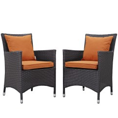 Orange Outdoor Chairs Ben Franklin Chair Convene Contemporary 2pc Patio Rattan Dining