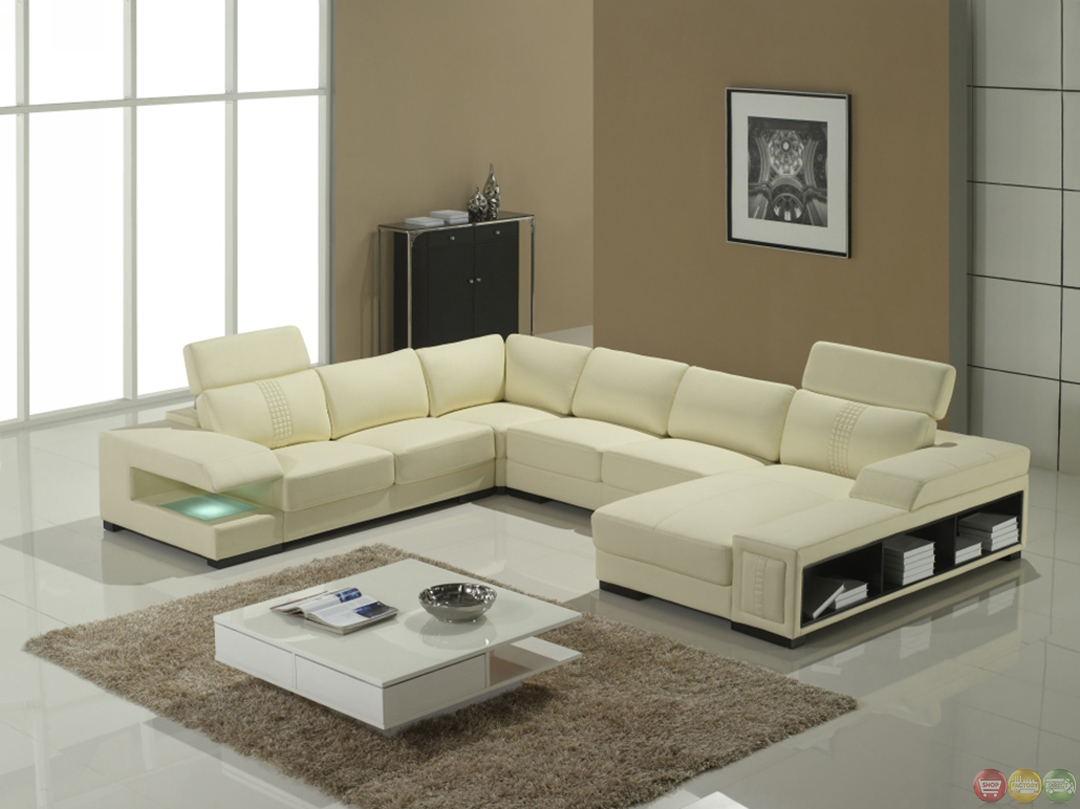 modern u shaped leather sofa manstad bed dimensions cream italian sectional with shelves ...