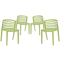 Modern Green Dining Chairs Comfy Kid Curvy Molded Plastic With Slatted