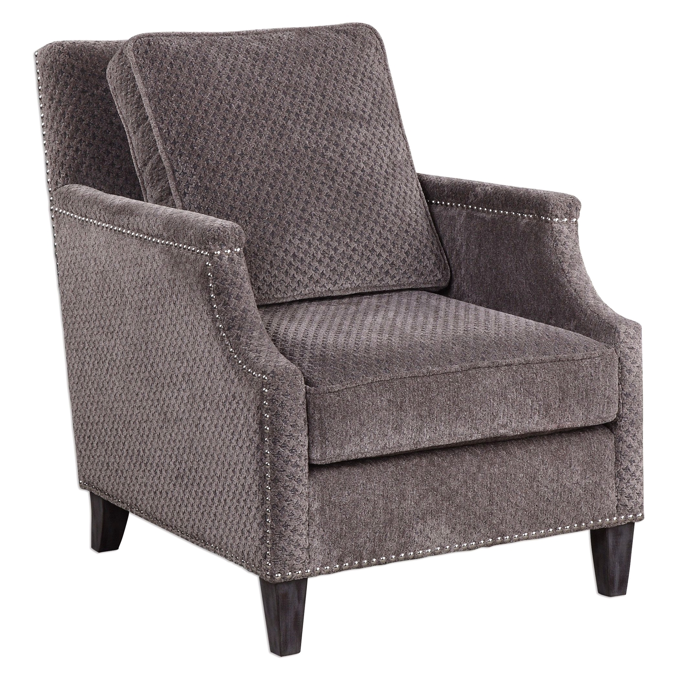 Gray Chair Cushions Dallen Curved Accent Armchair With Pewter Gray Chenille