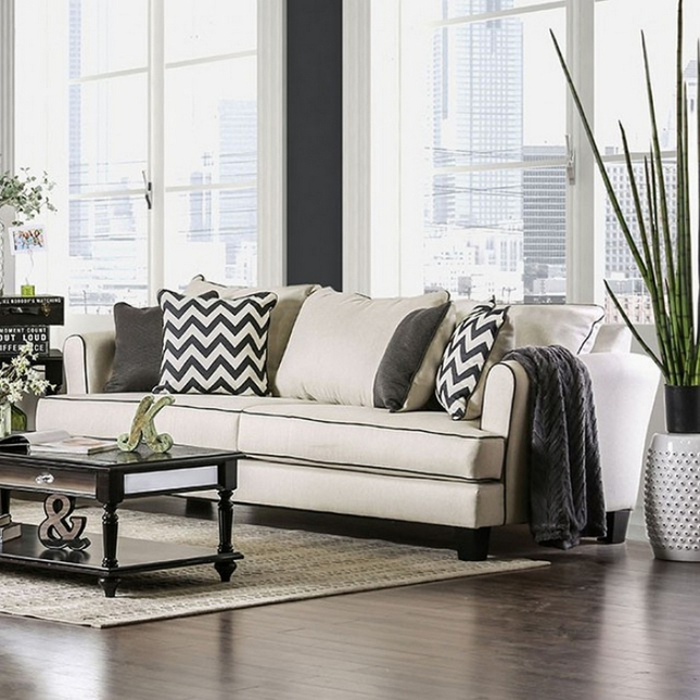 Daphne Transitional OffWhite Linen Sofa with Black Welt