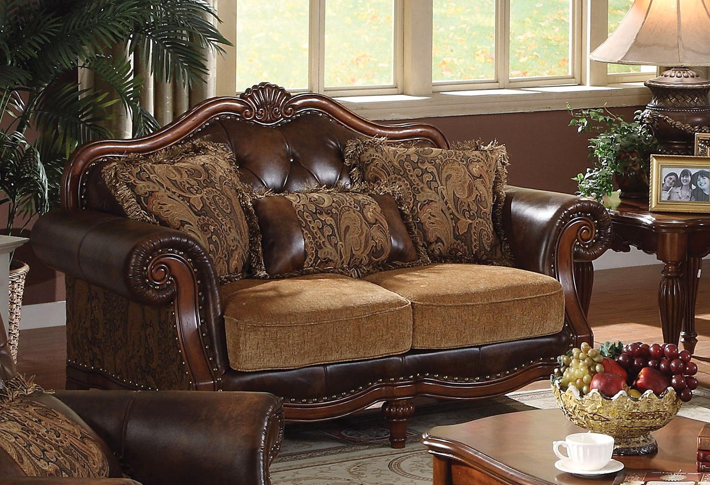 leather and chenille sofa ashley quarterback reclining reviews delphina traditional loveseat in brown faux