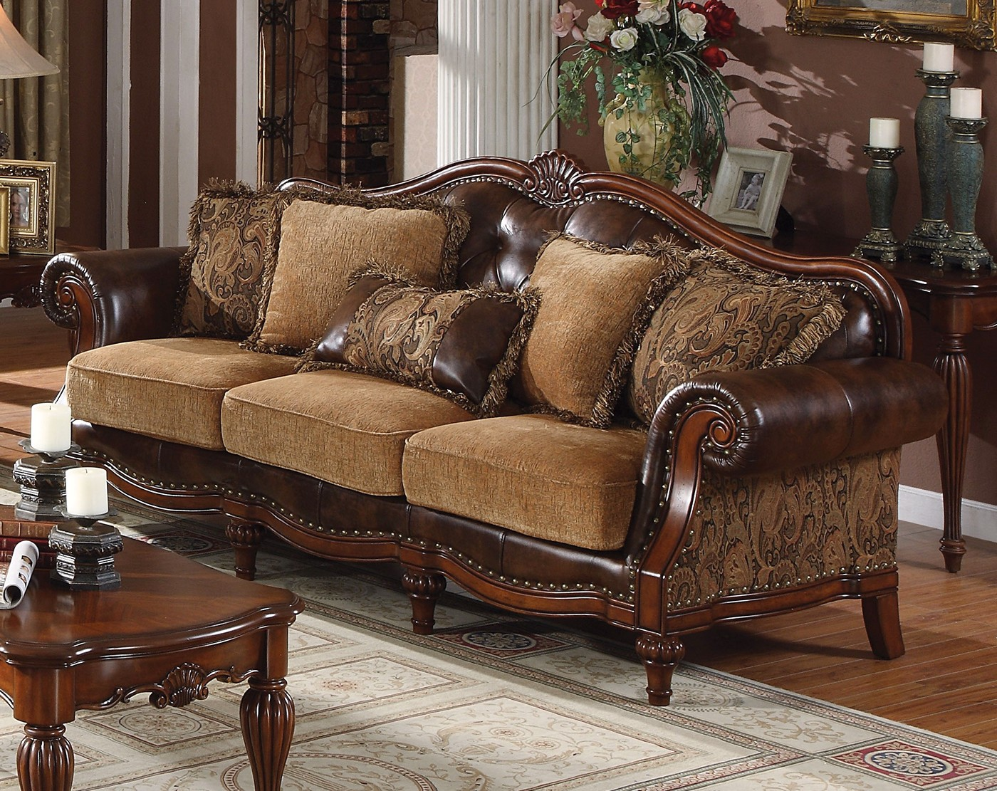 sofa loveseat sets under 500 circe delphina traditional & in brown faux leather ...